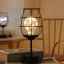 Goblet Caged Small Night Lamp Modern Iron Black USB LED Table Lighting in Warm/Multi-Color Light