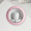 Pink/White Cat Inside The Ball Table Lamp Kids Plastic LED Nightstand Light with Magnet and Hanging Rope