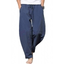 Casual Mens Solid Color Pocket Drawstring Mid Rise Long Relaxed Fit Pants