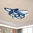 Kids Plane Wooden Flush Mount Light LED Close to Ceiling Lighting Fixture in Blue for Child Bedroom