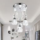 Silver 4-Light Cluster Pendant Contemporary Clear Crystal Blossom Drop Lamp for Dining Table