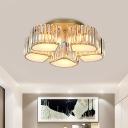 Blossom Living Room Flush Ceiling Light Modern Crystal Cube 5/7-Light Gold Semi Flush Light Fixture