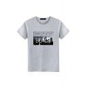 Street Boys Letter Black City Graphic Short Sleeve Round Neck Loose Tee Top