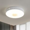 Hollowed Out Round Flush Light Minimalistic Acrylic White LED Ceiling Mount Lamp for Bedroom