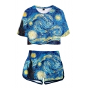 Oil Painting Patterned Short Sleeve Crew Neck Regular Fit Cropped T-shirt & Elastic Waist Shorts Trendy Set in Blue