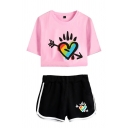 Popular Ladies Rainbow Heart Printed Short Sleeve Crew Neck Loose Crop Tee & Contrasted Shorts Co-ords