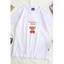 Pretty Girls Japanese Letter Strawberry Graphic Short Sleeve Crew Neck Relaxed T Shirt
