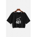 Sexy Girls Letter Cat Graphic Short Sleeve Cold Shoulder Relaxed Fit Crop Tee Top in Black