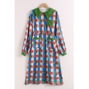 Unique Mixed Cartoon Graphic Plaid Printed Blouson Sleeves Point Collar Button down Mid Swing Shirt Dress in Blue