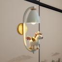 Cartoon 1-Light Wall Lighting White Unicorn/Elephant/Flying Pig Wall Mounted Lamp with Bell Iron Shade