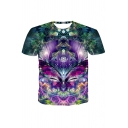 Purple Butterfly 3D Printed Short Sleeve Crew Neck Relaxed Fit Fashion T-shirt for Men