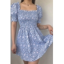 Trendy Blue Ditsy Floral Printed Stringy Selvedge Square Collar Short Puff Sleeve Mini A-Line Dress