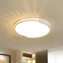 LED Circle Ceiling Mounted Fixture Simple White Finish Crystal Flushmount Lighting