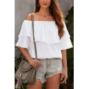 Trendy Solid Color Short Sleeve Off the Shoulder Ruffled Relaxed Fit T-shirt for Women