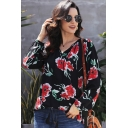 Casual Womens All over Flower Printed Long Sleeve V-neck Fringe Loose T Shirt