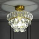 1 Head Close to Ceiling Light Postmodern Corridor Semi Flush Mount with Tapered Crystal Shade in Brass