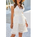 Stylish Womens Hollow out Short Sleeve Surplice Neck Bow Tie Waist Bi-layered Short A-line Dress in White