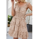 Stylish Womens Ditsy Floral Pattern Sleeveless Ruffled Trim Ruched Bow Tie Front Short Pleated A-line Dress