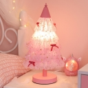 1-Light Table Lighting Korean Garden Christmas Tree Fabric Nightstand Lamp in Pink