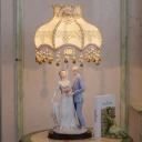 Beige Scalloped Bowl Table Lamp Pastoral Style Fabric 1 Bulb Beige Night Light with Wedding Couple Base