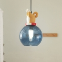 Blue Glass Ball Mini Pendant Light Kids Novelty 1 Head Hanging Lamp Kit with Dog/Duck/Fox Cork