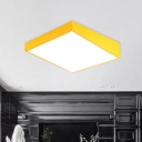 Acrylic Square Ceiling Flush Mount Kids LED Flush Mount Light Fixture in Red/Yellow/Blue for Bedroom