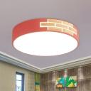 Drum Bedroom Ceiling Lighting Acrylic LED Simple Flush Mount Spotlight with Wood Detail in Grey/White/Pink