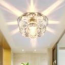Modernism Bloom Ceiling Light Clear Crystal Block LED Flush Mount Lamp in Multi Color Light