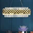 Oval Kitchen Island Lamp Modern Clear K9 Crystal 16 Heads Gold Suspension Pendant