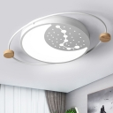 Big Dipper LED Ceiling Flush Mount Light Nordic Acrylic Grey/Green/White Flushmount Lamp with Wood Accent for Kid Room