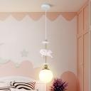 Frosted White Glass Globe Pendulum Light Cartoon 1-Bulb Pink Hanging Pendant with Unicorn Decoration