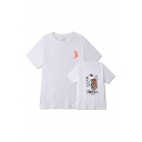 Harajuku Japanese Letter Cat Graphic Short Sleeve Crew Neck Relaxed Fit T Shirt for Guys
