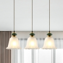 3 Lights Flared/Bell Cluster Pendant Light Traditional White Glass Suspended Lighting with Linear Canopy