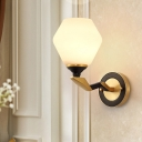 Black and Gold 1/2-Light Wall Lighting Countryside White Glass Diamond Shade Wall Sconce Light with Twisted Arm