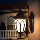 1-Head Sconce Lamp Rural Outdoor Wall Light Fixture with Urn White Glass Shade in Black/Bronze