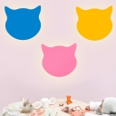 Pink/Yellow/Blue Finish Cat Wall Lighting Minimalist LED Wood Panel Sconce Lamp Fixture for Bedroom