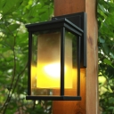 Countryside Rectangle Sconce 1-Bulb Clear and Amber Glass Wall Light in Black with Metal Frame