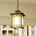 Bronze Open Bottom Pendant Lighting Countryside White Glass 1 Bulb Yard Drop Lamp