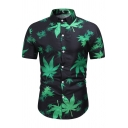 Fashion Mens All over Leaf Printed Short Sleeve Turn-down Collar Curved Hem Slim Fit Shirt Top in Green