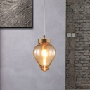 1 Head Teardrop Pendant Lamp Contemporary Amber Glass Hanging Light Fixture in Gold