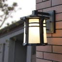 1 Light Wall Lighting Fixture Rural Pavilion White Glass Wall Mounted Lamp in Black/Bronze