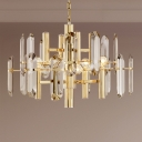 Simple Tiered Pendant Chandelier 8/10 Heads Clear Crystal Block Hanging Light in Gold