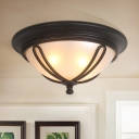 Black 4 Bulbs Flush Mount Lamp Rustic Frosted Glass Dome Ceiling Lighting with Petal Strap