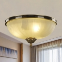 Cloche Foyer Ceiling Flush Mount Simple Frosted Glass 2 Bulbs Black and Gold Flushmount Lighting
