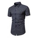 Formal Mens Plaid Printed Short Sleeve Turn-down Collar Curved Hem Slim Fit Shirt Top