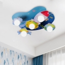 Cartoon 5 Bulbs Ceiling Light Blue Rocket Flush Mount Lamp with Global Frosted Glass Shade