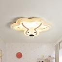 Deer Iron Ceiling Light Fixture Nordic LED White Flush Mount Lighting for Kids Bedroom