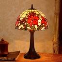 Lattice Bowl Stained Glass Nightstand Lighting Tiffany 1-Light Coffee Bloom Patterned Night Light