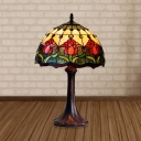 1-Light Night Light Tiffany Style Bowl Shaped Stained Glass Tulip Patterned Table Lighting in Bronze
