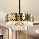 Crystal Prism Gold Finish Pendant Light Layered 8 Bulbs Postmodern Style Chandelier